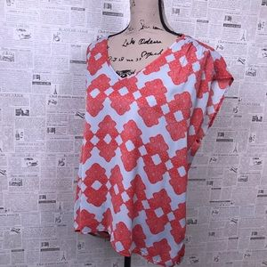 Collective Concepts orange geographic Aztec blouse